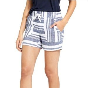 Athleta Linen Blue White Stripe Shorts 0